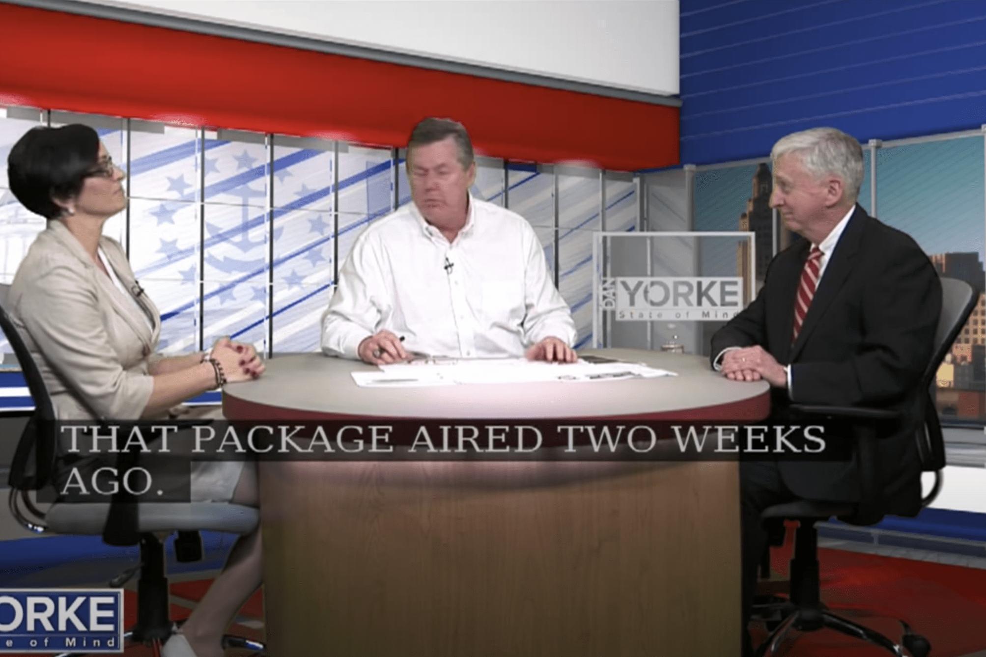 Jina Petrarca speaking to Dan Yorke at his desk on the Dan Yorke television show