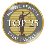 Award commemorating a top 25 motor vehicle trial lawyer